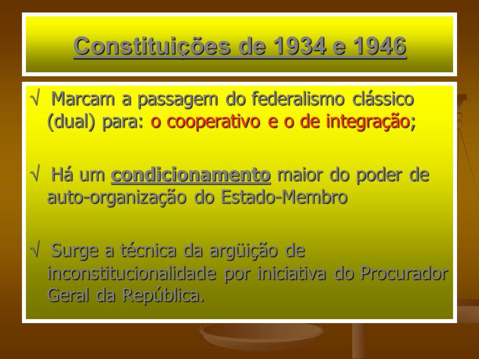 Constituições de 1934 e 1946  Marcam a passagem do federalismo clássico (dual) para: o cooperativo e o de integração;