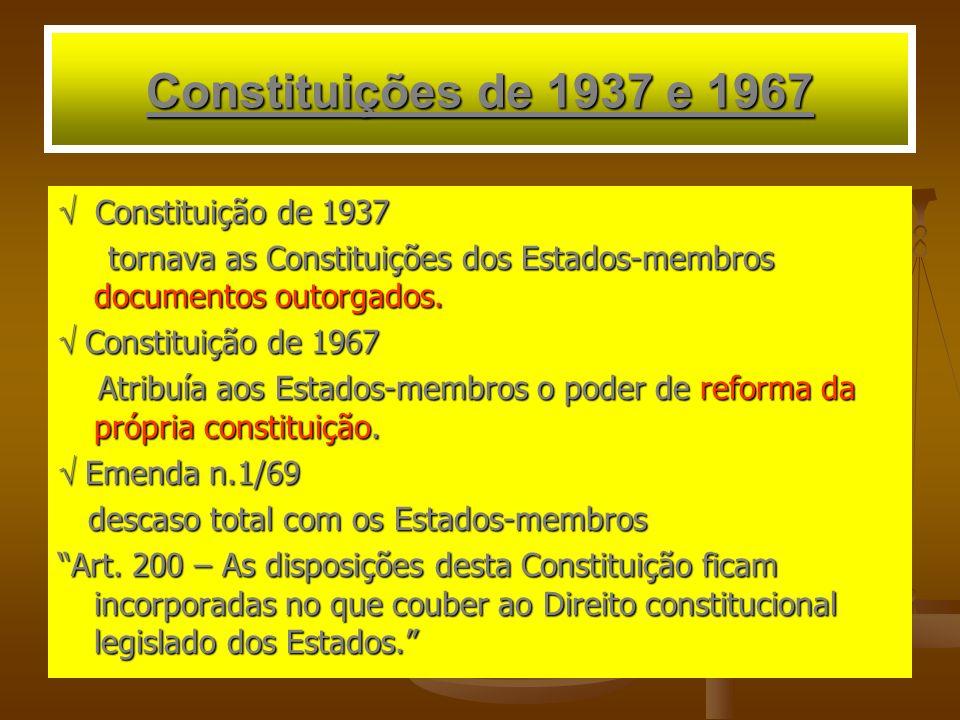 Constituições de 1937 e 1967  Constituição de 1937