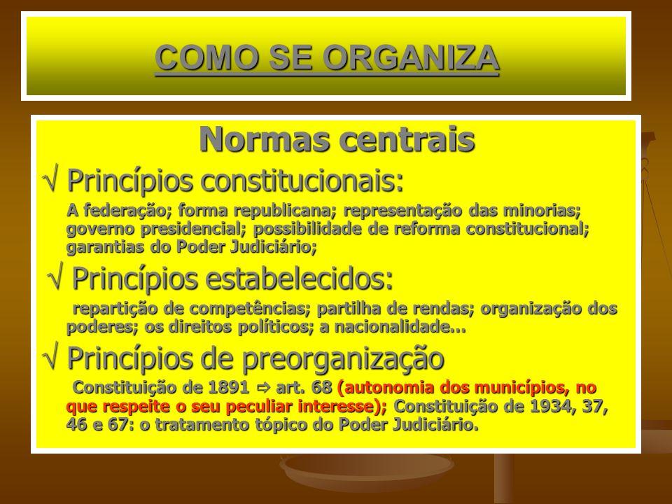 COMO SE ORGANIZA Normas centrais  Princípios constitucionais: