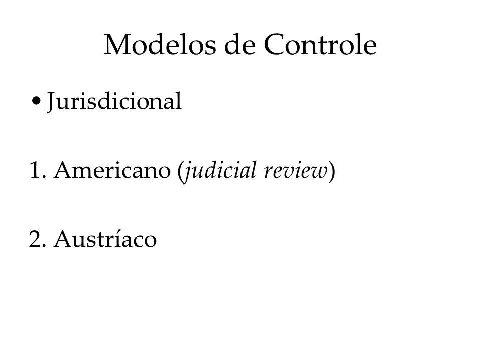 Modelos de Controle Jurisdicional 1. Americano (judicial review)