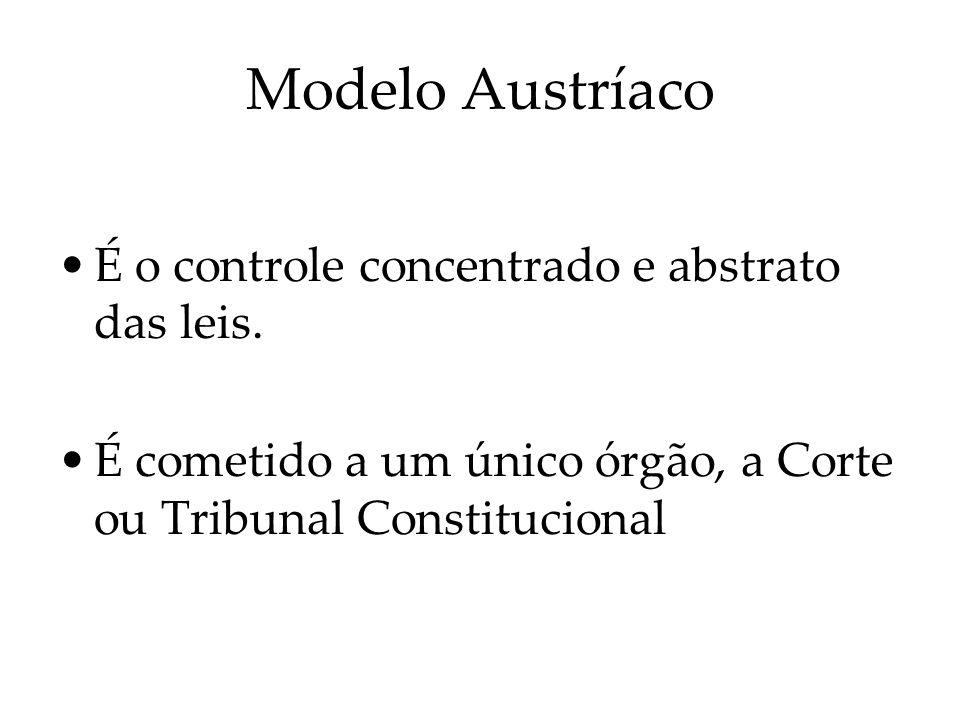 Modelo Austríaco É o controle concentrado e abstrato das leis.