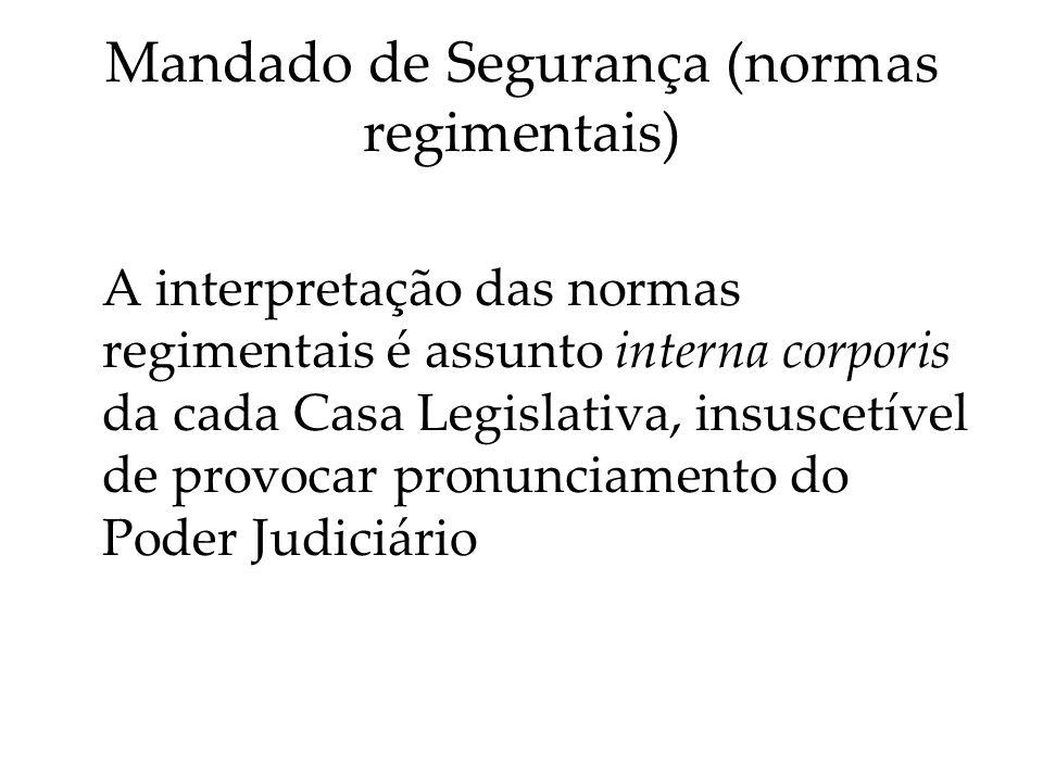 Mandado de Segurança (normas regimentais)