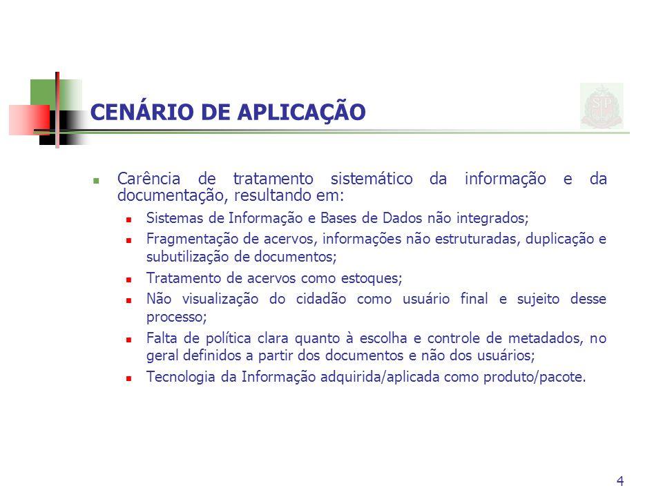 CENÁRIO DE APLICAÇÃO Carência de tratamento sistemático da informação e da documentação, resultando em: