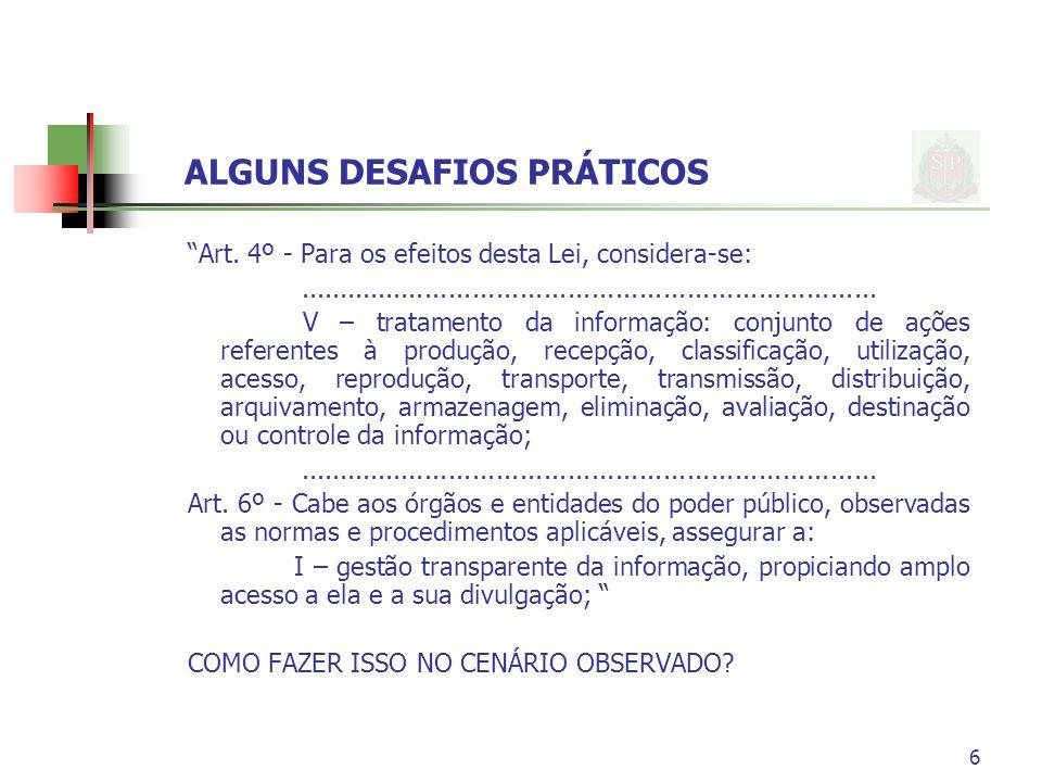 ALGUNS DESAFIOS PRÁTICOS