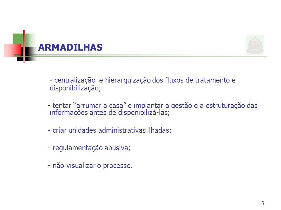 ARMADILHAS - centralização e hierarquização dos fluxos de tratamento e disponibilização;