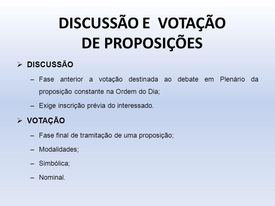 DISCUSSÃO E VOTAÇÃO DE PROPOSIÇÕES