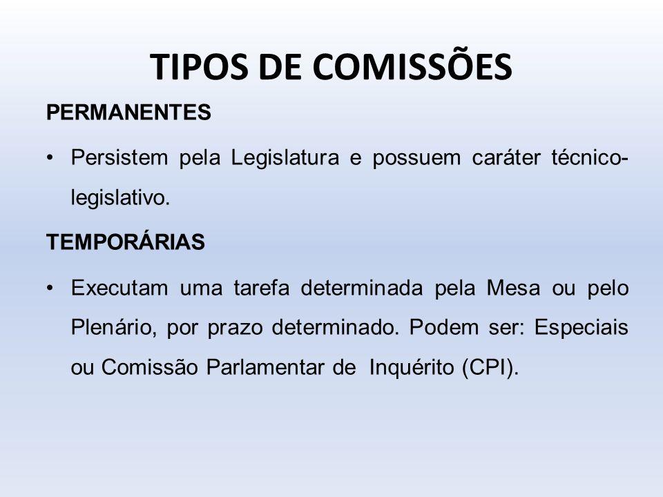 TIPOS DE COMISSÕES PERMANENTES
