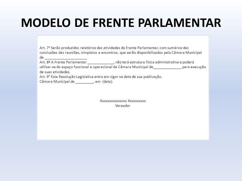 MODELO DE FRENTE PARLAMENTAR