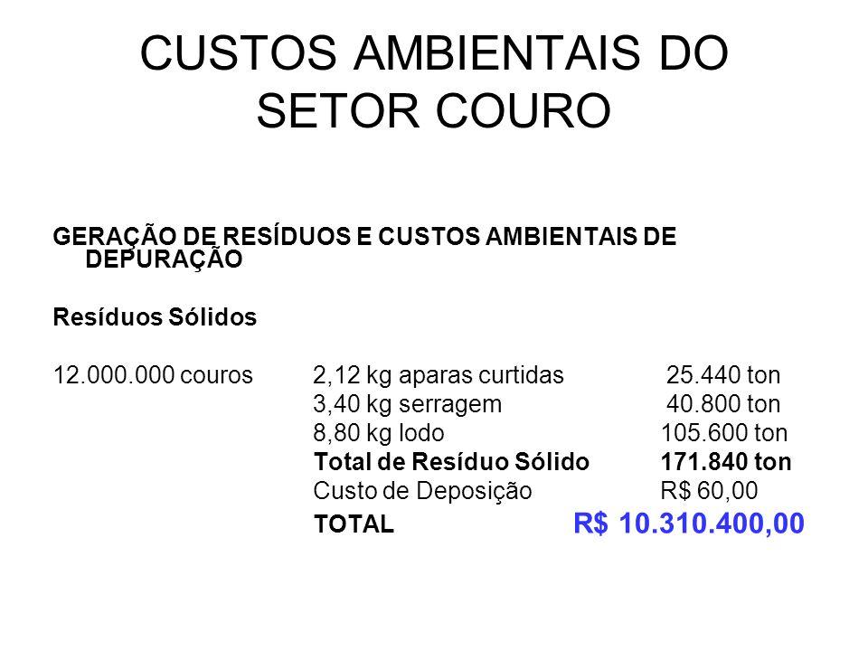 CUSTOS AMBIENTAIS DO SETOR COURO