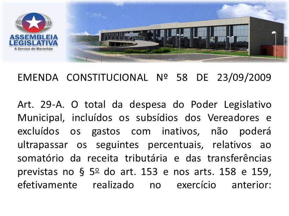 EMENDA CONSTITUCIONAL Nº 58 DE 23/09/2009 Art. 29-A