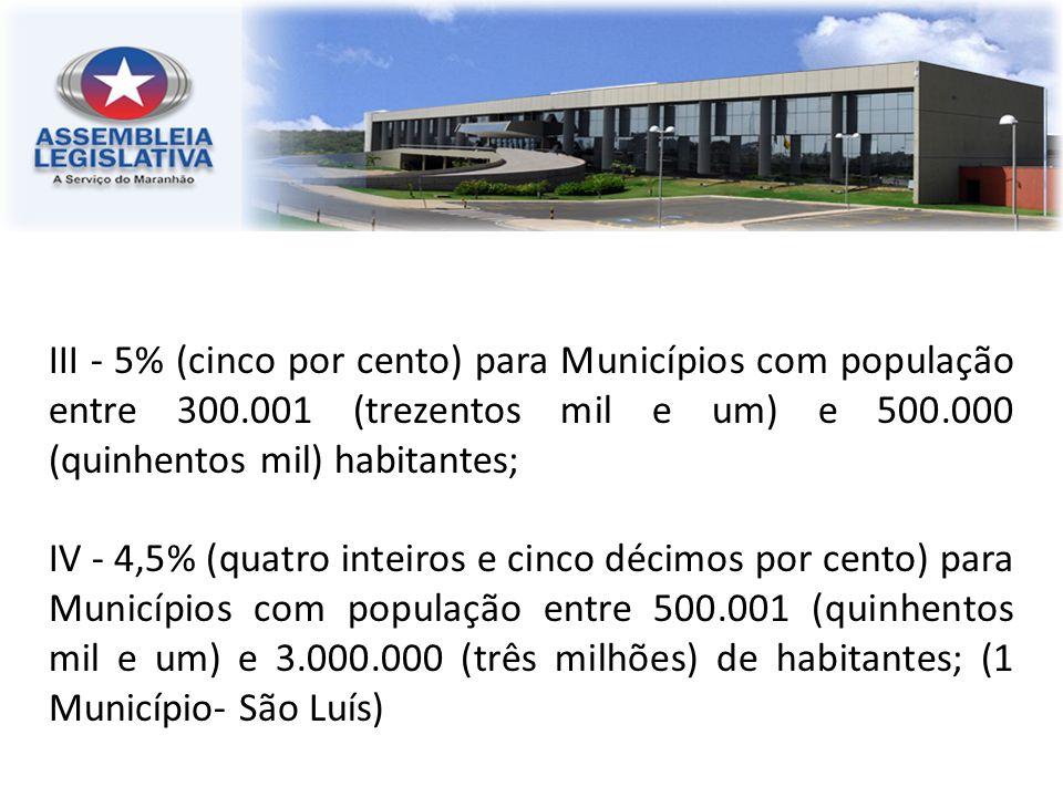 III - 5% (cinco por cento) para Municípios com população entre 300