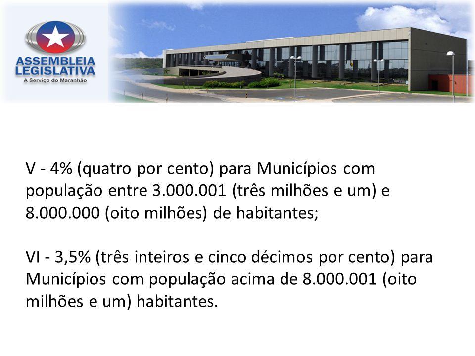 V - 4% (quatro por cento) para Municípios com população entre 3. 000