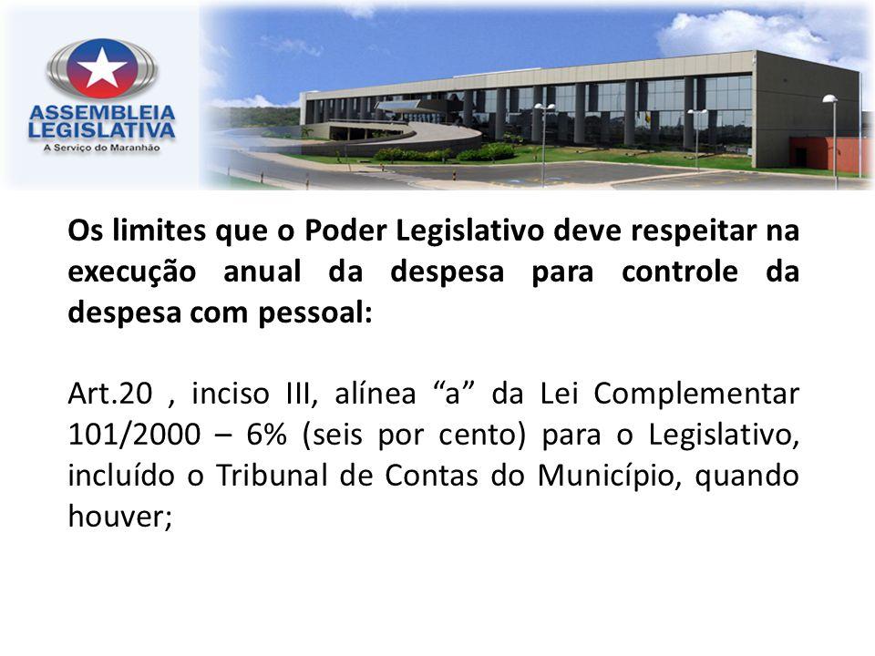 Os limites que o Poder Legislativo deve respeitar na execução anual da despesa para controle da despesa com pessoal: