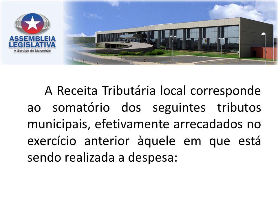 A Receita Tributária local corresponde ao somatório dos seguintes tributos municipais, efetivamente arrecadados no exercício anterior àquele em que está sendo realizada a despesa:
