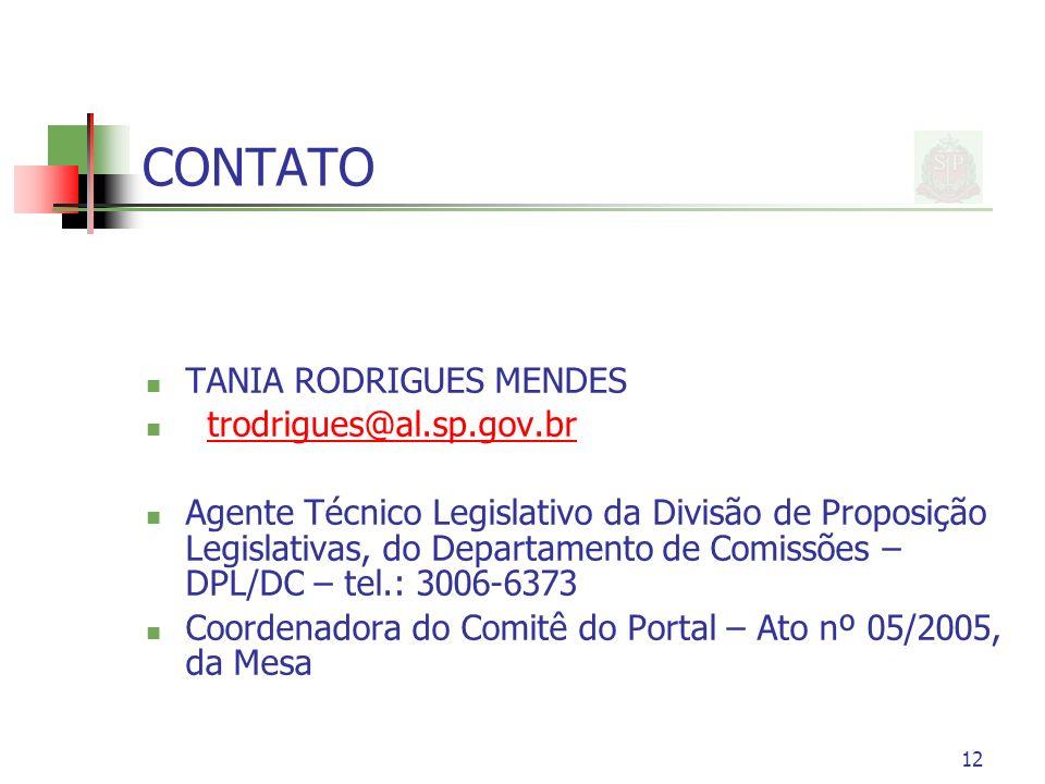 CONTATO TANIA RODRIGUES MENDES trodrigues@al.sp.gov.br