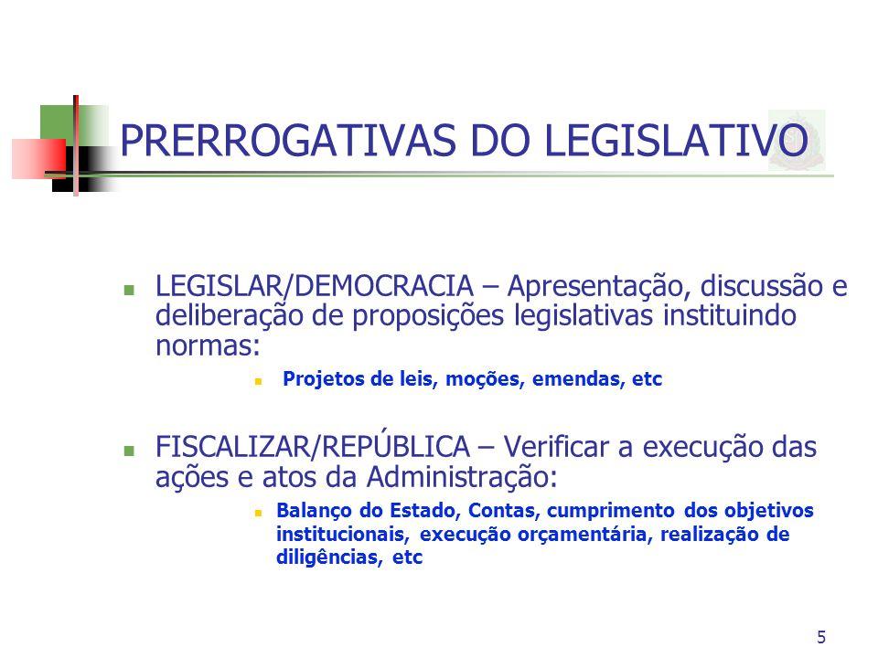 PRERROGATIVAS DO LEGISLATIVO