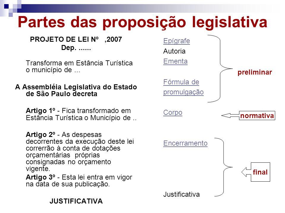 Partes das proposição legislativa