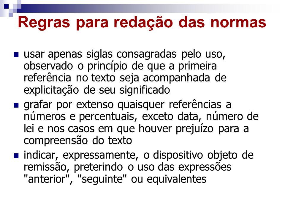 Regras para redação das normas