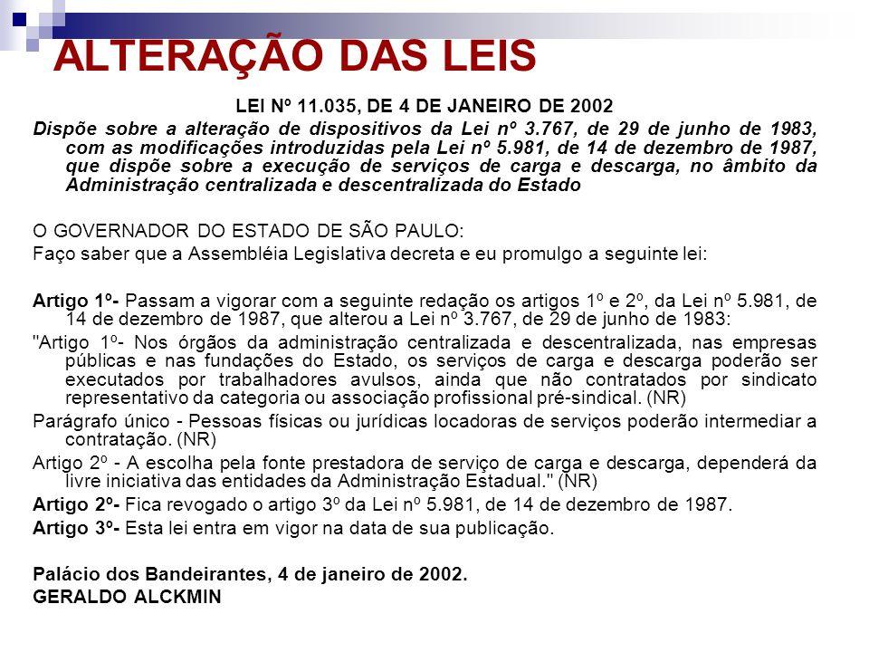 ALTERAÇÃO DAS LEIS LEI Nº 11.035, DE 4 DE JANEIRO DE 2002