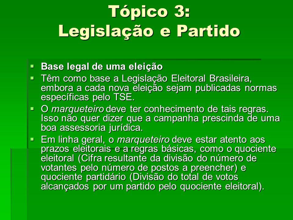 Tópico 3: Legislação e Partido