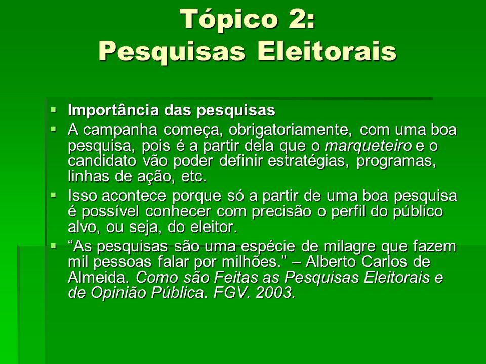 Tópico 2: Pesquisas Eleitorais