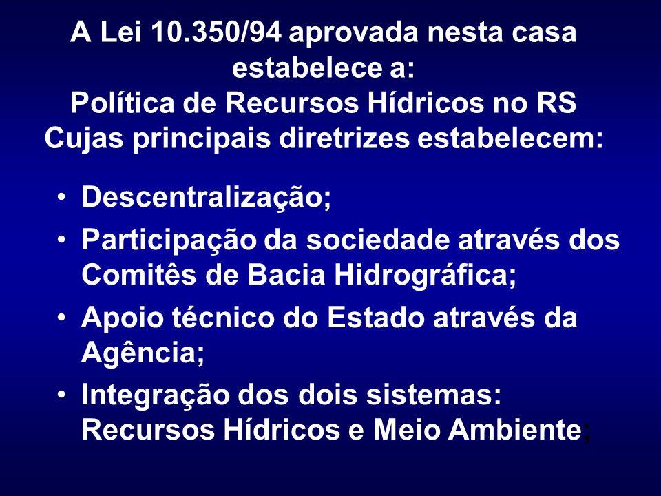 A Lei 10.350/94 aprovada nesta casa estabelece a: Política de Recursos Hídricos no RS Cujas principais diretrizes estabelecem: