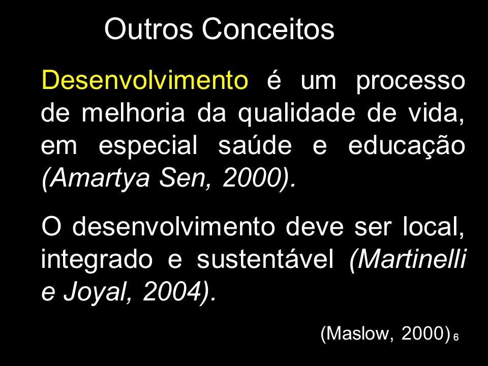 Outros Conceitos Desenvolvimento é um processo de melhoria da qualidade de vida, em especial saúde e educação (Amartya Sen, 2000).