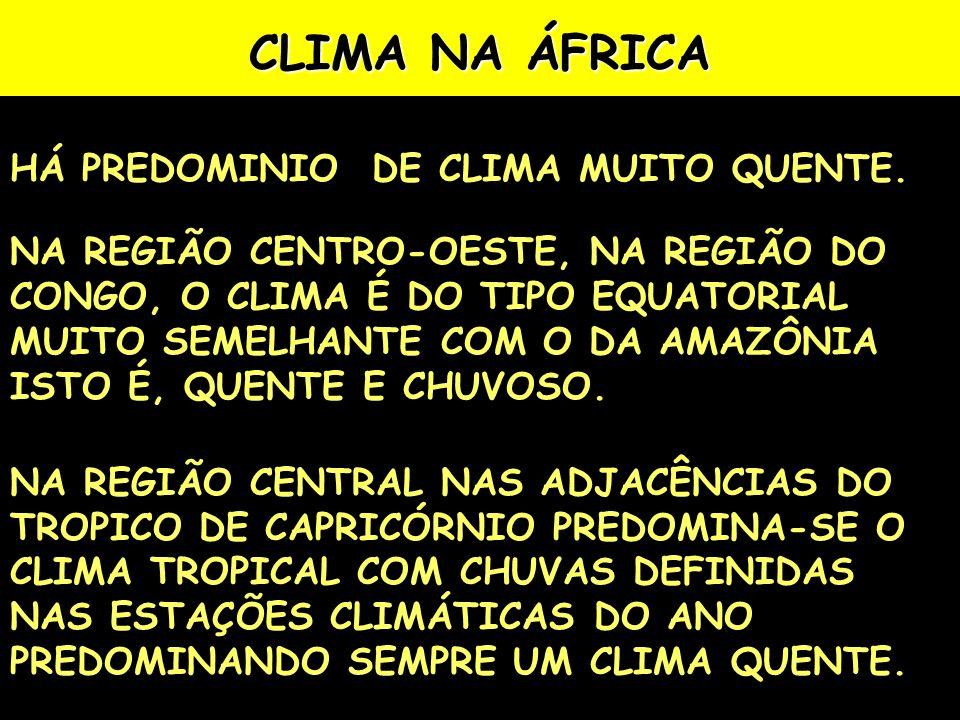 CLIMA NA ÁFRICA HÁ PREDOMINIO DE CLIMA MUITO QUENTE.