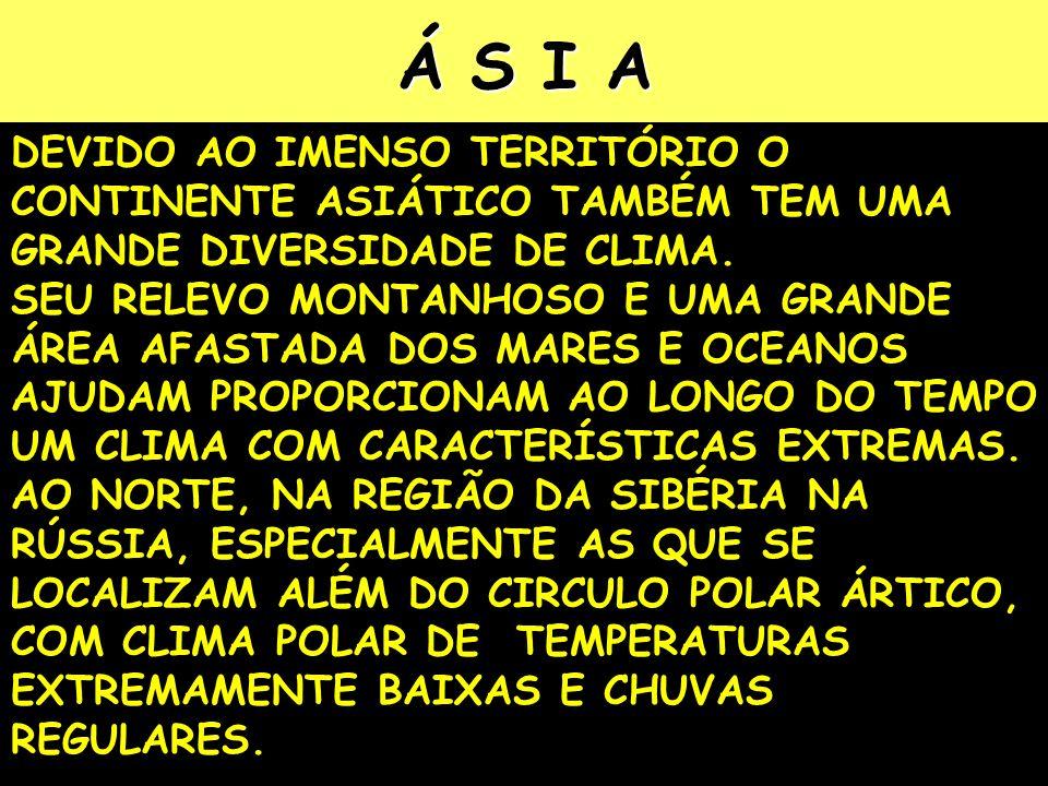 Á S I A DEVIDO AO IMENSO TERRITÓRIO O CONTINENTE ASIÁTICO TAMBÉM TEM UMA GRANDE DIVERSIDADE DE CLIMA.