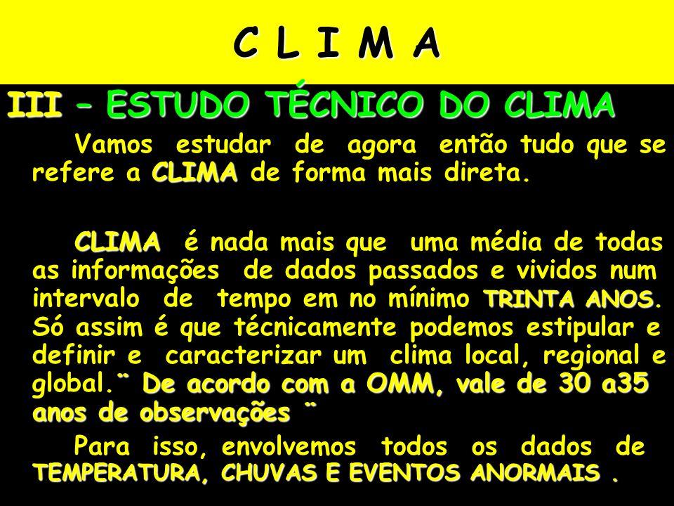 C L I M A III – ESTUDO TÉCNICO DO CLIMA