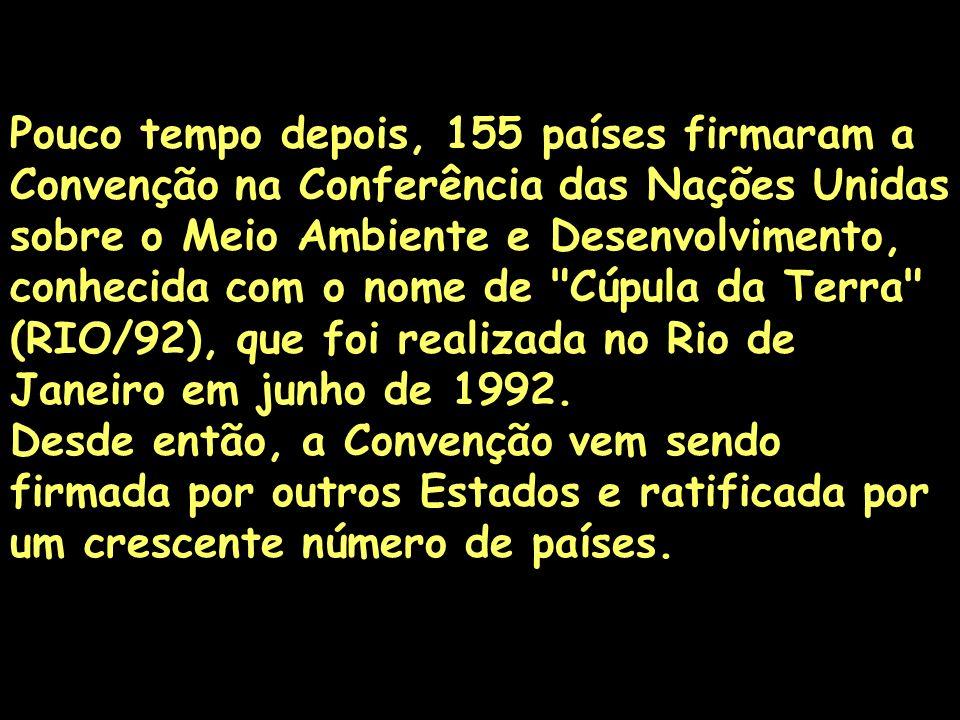 Pouco tempo depois, 155 países firmaram a Convenção na Conferência das Nações Unidas sobre o Meio Ambiente e Desenvolvimento, conhecida com o nome de Cúpula da Terra (RIO/92), que foi realizada no Rio de Janeiro em junho de 1992.