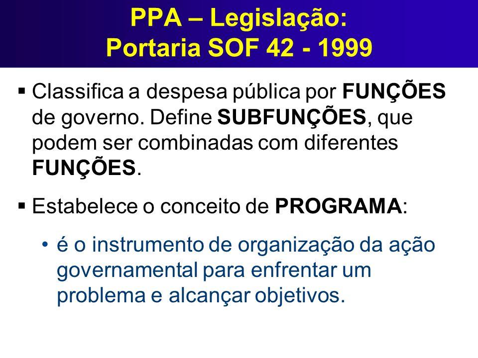 PPA – Legislação: Portaria SOF 42 - 1999