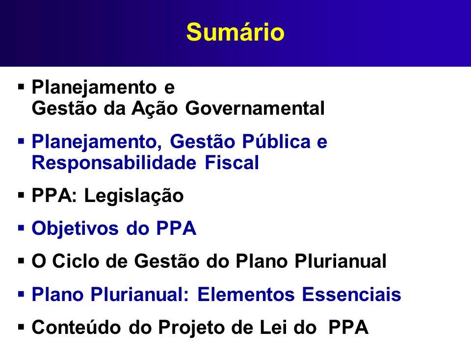 Sumário Planejamento e Gestão da Ação Governamental