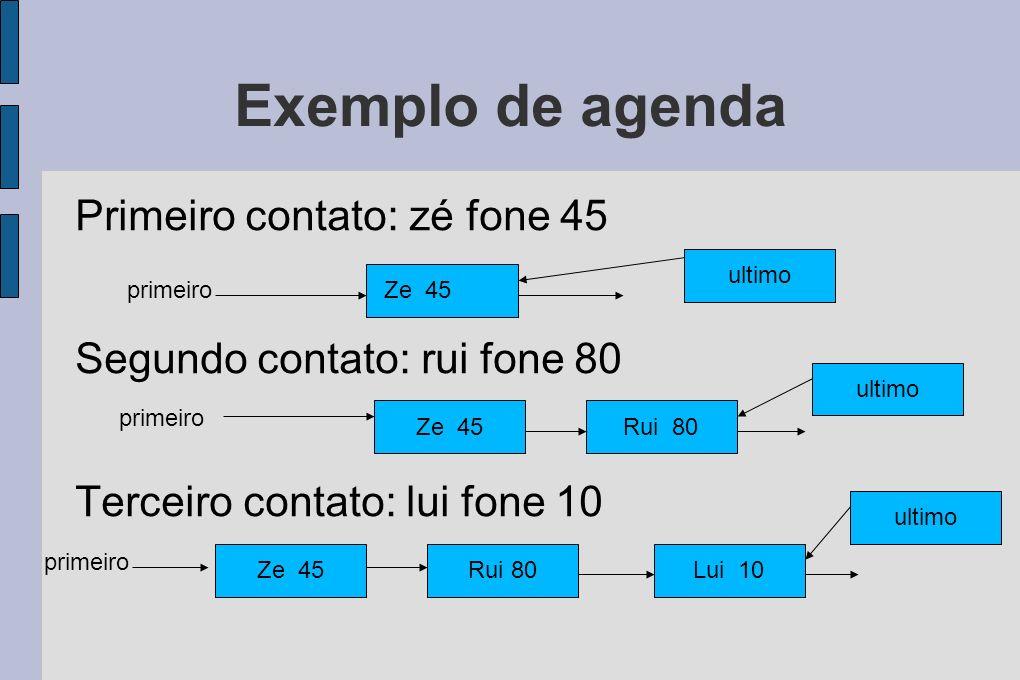 Exemplo de agenda Primeiro contato: zé fone 45