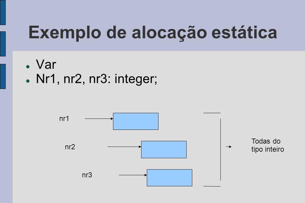 Exemplo de alocação estática