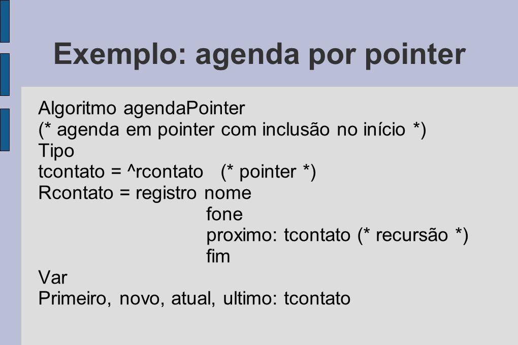 Exemplo: agenda por pointer