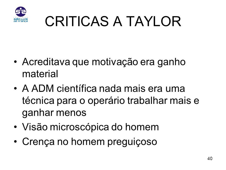 CRITICAS A TAYLOR Acreditava que motivação era ganho material