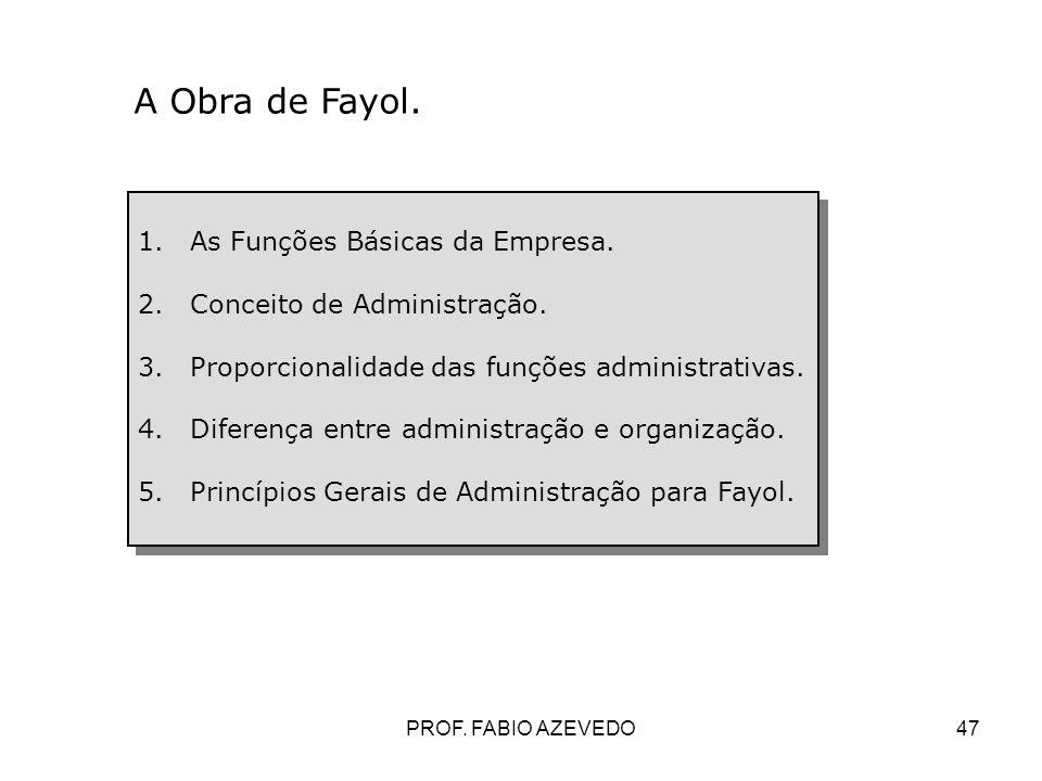 A Obra de Fayol. As Funções Básicas da Empresa.