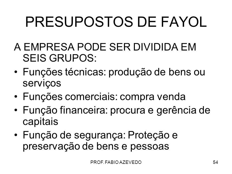 PRESUPOSTOS DE FAYOL A EMPRESA PODE SER DIVIDIDA EM SEIS GRUPOS: