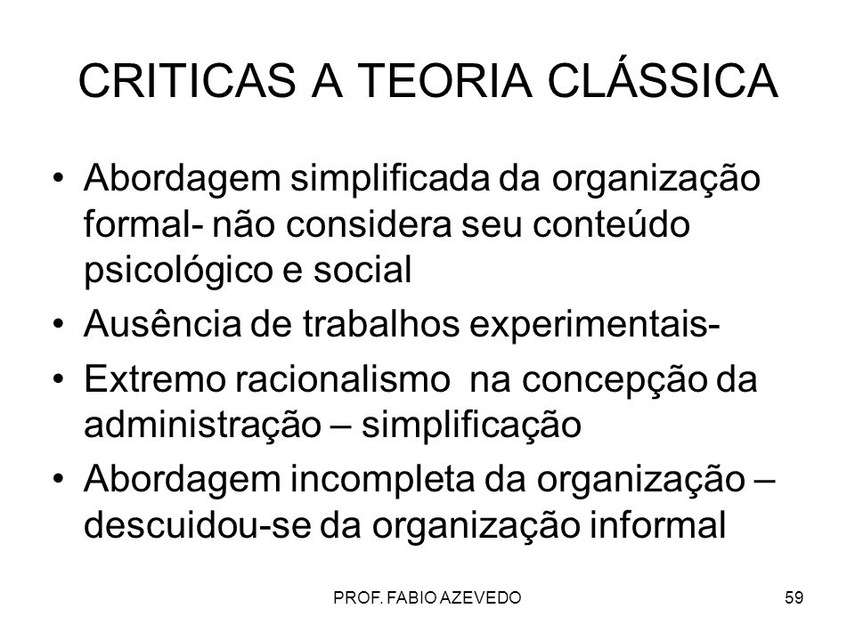 CRITICAS A TEORIA CLÁSSICA