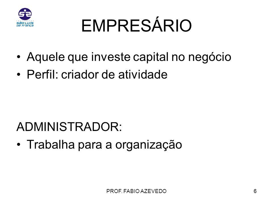 EMPRESÁRIO Aquele que investe capital no negócio