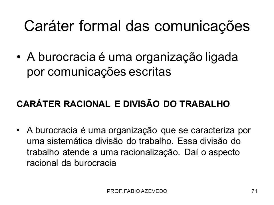 Caráter formal das comunicações