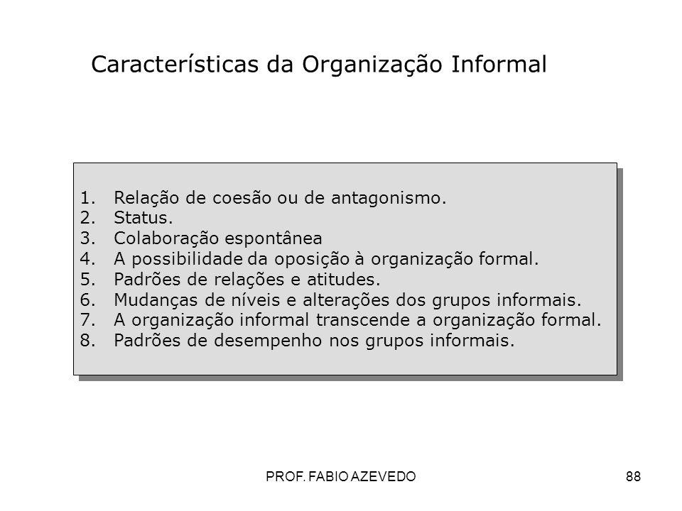 Características da Organização Informal