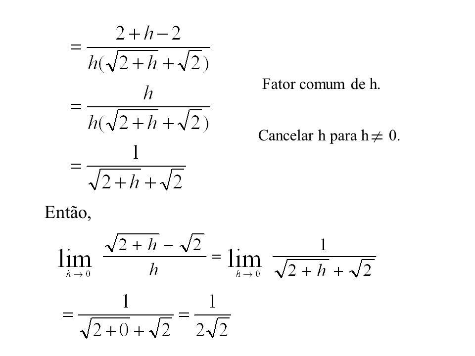 Fator comum de h. Cancelar h para h 0. Então,