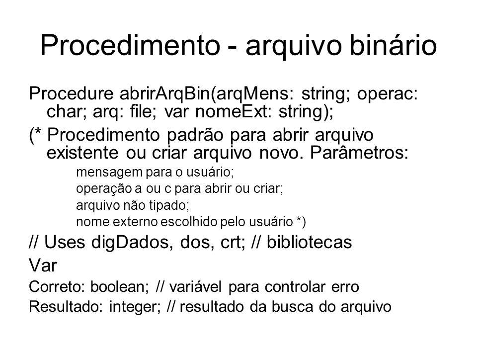 Procedimento - arquivo binário