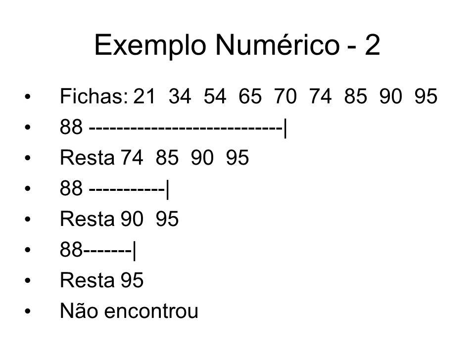 Exemplo Numérico - 2 Fichas: 21 34 54 65 70 74 85 90 95