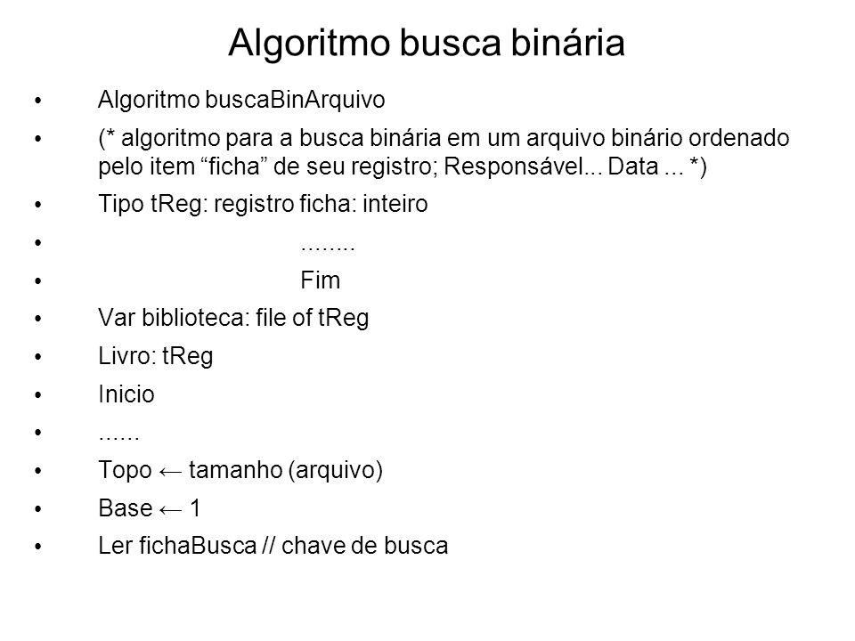Algoritmo busca binária