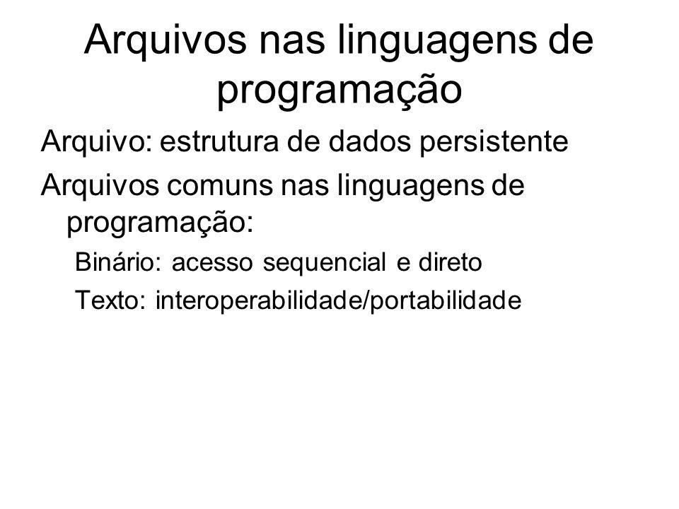 Arquivos nas linguagens de programação