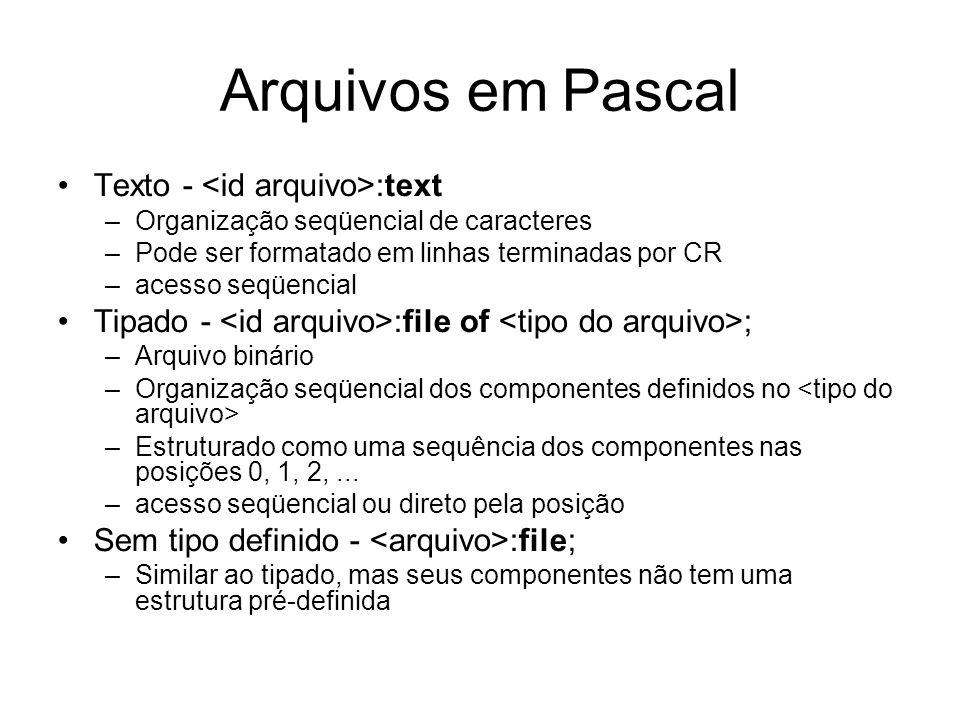 Arquivos em Pascal Texto - <id arquivo>:text