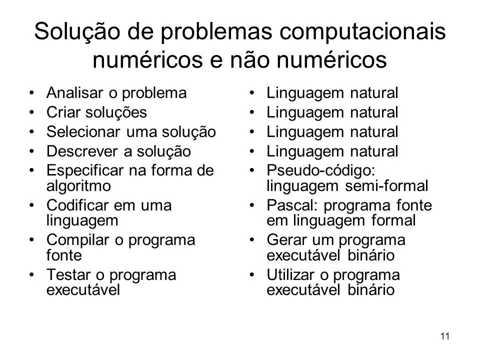 Solução de problemas computacionais numéricos e não numéricos